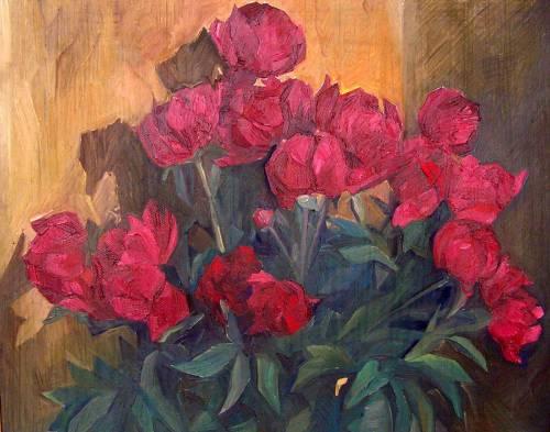 Пионы. 2002. К.м. 49х61