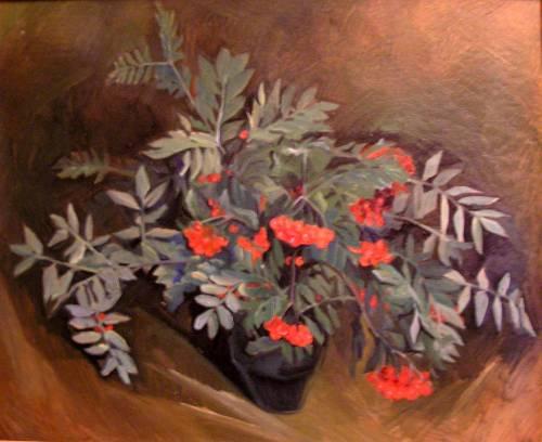 Букет рябины. 1996. К.м. 56х70